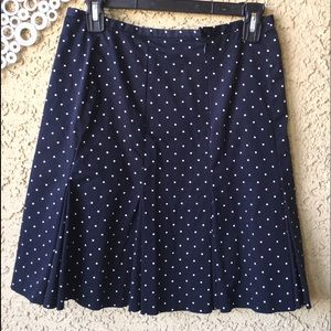 Bandolino Sz 8 PolkaDot Navy Pleated Skirt